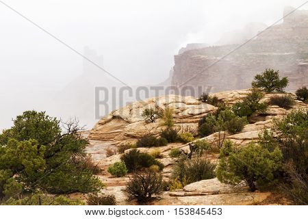 Fog and Mist at the Island in the Sky section of Canyonlands National Park near Moab Utah