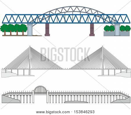 Set of three miscellaneous bridges - railroad bridge cable-stayed bridge and highway bridge