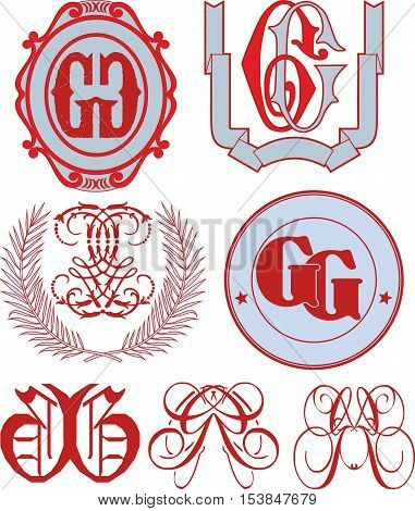 Set Of Gg Monograms And Emblem Templates