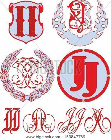 Set Of Ii (jj) Monograms And Emblem Templates