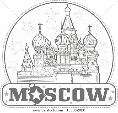 Sticker With Saint Basil's Cathedral In Moscow