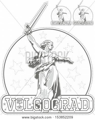 Sticker With Motherland Monument In Volgograd, Russia