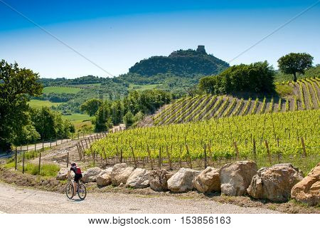 Val d'Orcia Siena mountain bike excursion in the Tuscan hills - ford and climb to Rocca d'Orcia from Podere Mulina