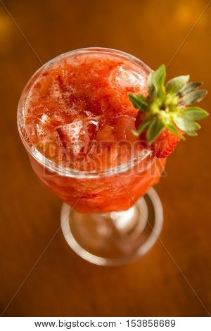 Fresh Made Strawberry Caipirinha On Wooden Background