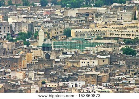 Aerial view of the city skyline and the University of Al-Karaouine the oldest university in the world in the ancient medina Fes el Bali in Fez Morocco