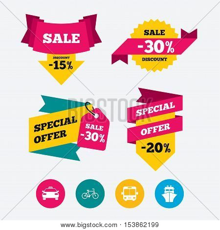 Transport icons. Taxi car, Bicycle, Public bus and Ship signs. Shipping delivery symbol. Family vehicle sign. Web stickers, banners and labels. Sale discount tags. Special offer signs. Vector