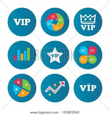 Business pie chart. Growth curve. Presentation buttons. VIP icons. Very important person symbols. King crown and star signs. Data analysis. Vector