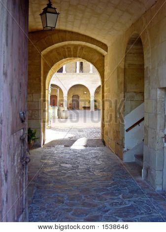Entrance To Castell De Bellver Courtyard In Palma City, Mallorca