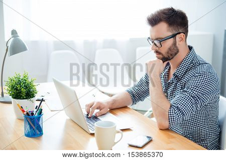Side View Of Concentrated Ponder Man Finding Way To Solve His Problems