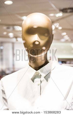 Fashion Mannequin Plastic Form Model Clothes Button Up Shirt Store Bright Lights Display Window Mall
