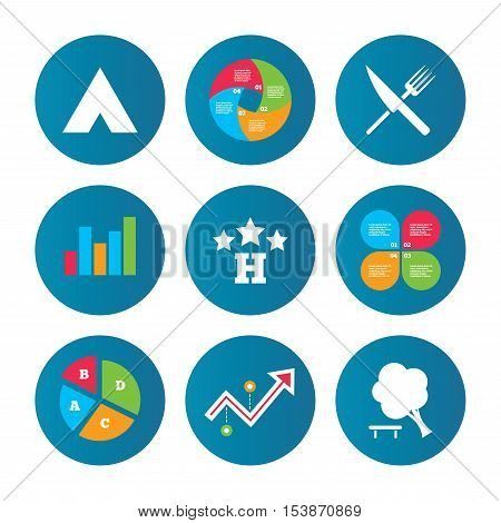 Business pie chart. Growth curve. Presentation buttons. Food, hotel, camping tent and tree icons. Knife and fork. Break down tree. Road signs. Data analysis. Vector
