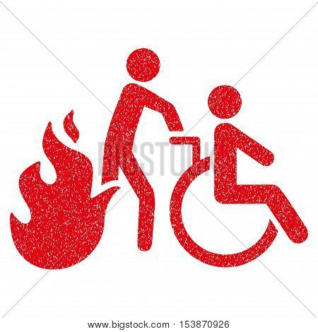 Fire Patient Evacuation grainy textured icon for overlay watermark stamps. Flat symbol with scratched texture. Dotted vector red ink rubber seal stamp with grunge design on a white background.