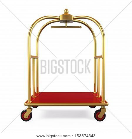 Hotel Luggage Trolley isolated on white background. 3D render