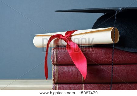 Graduation Cap, Scroll And Books