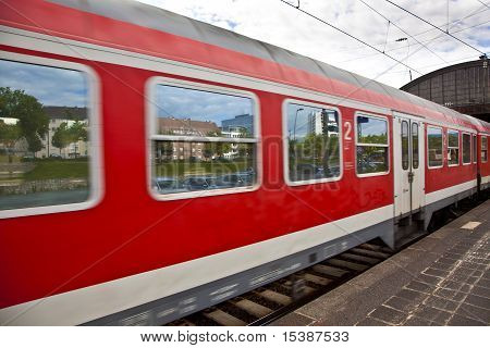 Red Train Leaves The Station