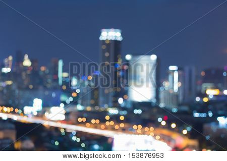 Night blurred lights urban downtown, abstract background
