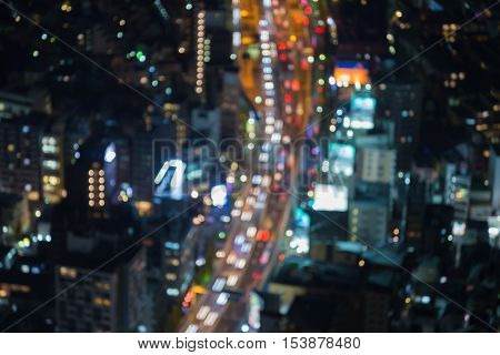 Top view blurred lights Tokyo road night view, Japan, abstract background