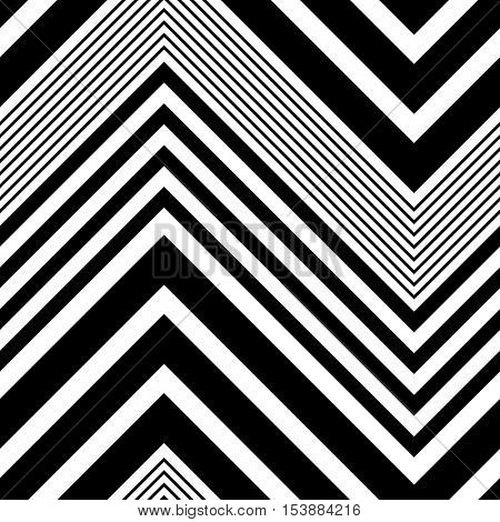 Seamless ZigZag Pattern. Abstract  Black and White Background. Vector Regular Texture. Minimal Zig Zag Design