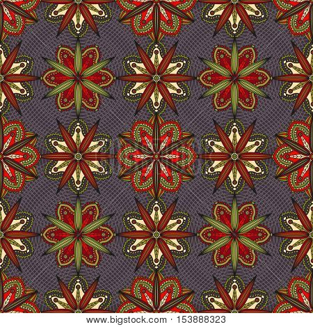 Oriental floral ornament. Seamless pattern of chrysanthemum flower elements in shades of red, green & ivory on dark purple background.