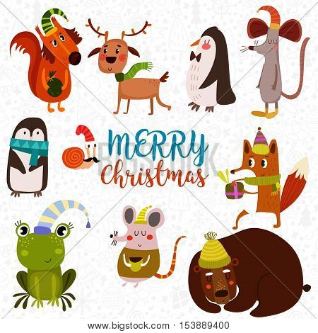 Lovely Christmas Set In Cartoon Style. Funny Card With Cute Animals: Squirrel, Fox, Deer,frog, Rat,