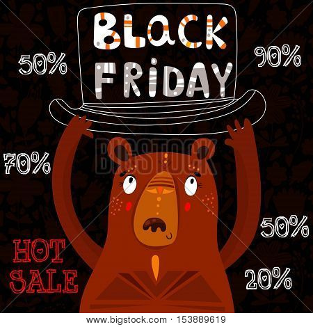 Black Friday sale inscription design template with cute beat. Black Friday banner-stock vector