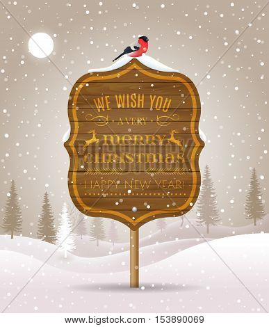 Wooden Sign Board With Christmas Greeting On Winter Landscape With Snow-covered Forest And Bullfinch