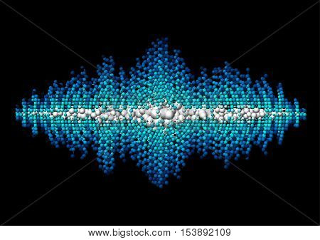 Sound waveform made of chaotic blue balls