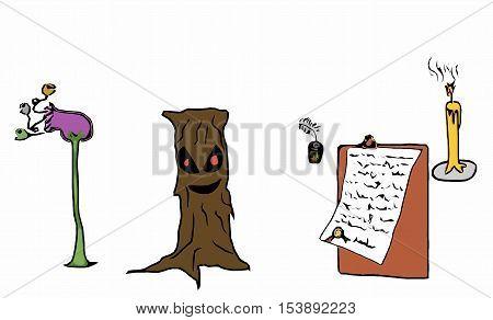 Halloween icons set , cartoon freehand vector