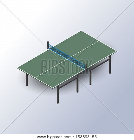 Table for tennis and ping pong in the isometric view isolated on white background design elements sports equipment vector illustration.