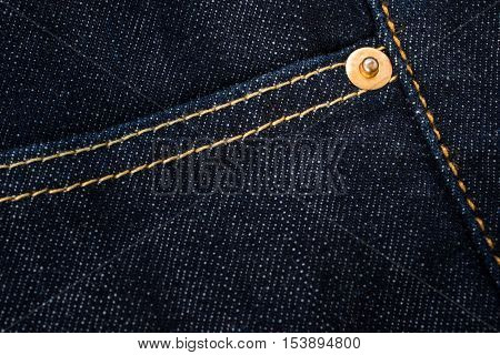 Jeans Background. Detail Of Denim Jeans. Clasper And Pocket Of Dark Blue Denim Jeans.