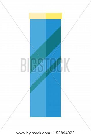 Blue plastic bank with yellow cover. Plastic bank icon. Retail store element. Bank object. Bank food sign. Simple drawing. Isolated vector illustration on white background.
