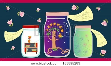 Allegorical vector illustration. My favorite books, summer night and summer scents in glass jars on dark background. Vitamins for the Soul.