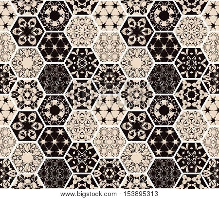 Oriental seamless patchwork pattern. Hexagonal ceramic tile. Boho shic style. Vector illustration.