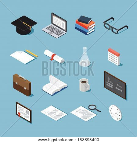 Isometric college student vector set: graduation cap laptop stack of booksglasses piece of paper diploma test-tube calendar briefcase open book cup of coffee black board framed diploma.