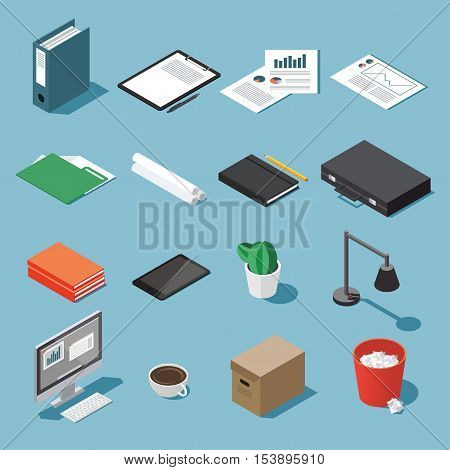Isometric office equipment vector set: paperwork tablet clipboard book folder pen and pencil table lamp desktop case diagram open book and organizer trash canbox rolls of paper cactus.