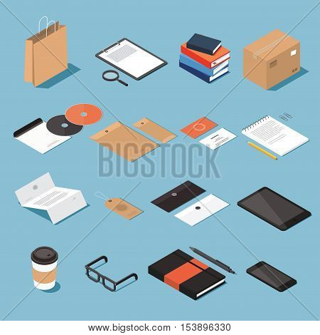 Isometric stationery vector set. Isometric mock up objects. Craft paper bag tablet craft box CD envelopes business card pad pencil document blank label tag coffee cup glasses smartphone.