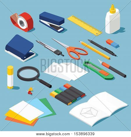 Isometric office stationery set. Collection includes adhesive tape stapler ruler tube glue hole puncher dividers scissors pen eraser knife magnifier open book paper marker.