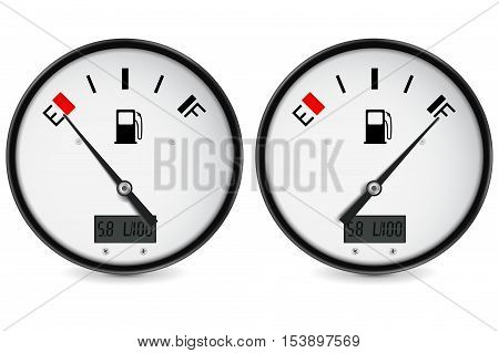 Fuel gauge. Empty and full level indication. Vector illustration isolated on white background