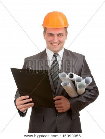 Engineer With Plans And Clipboard