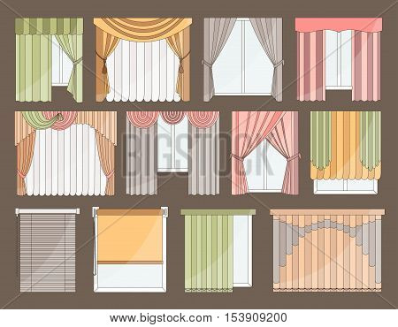 Collection of Different curtains and blinds for interior design - classic, horizontal and vertical blinds, Roman, draped, tulle. Big set of curtains on the windows isolated on color background.