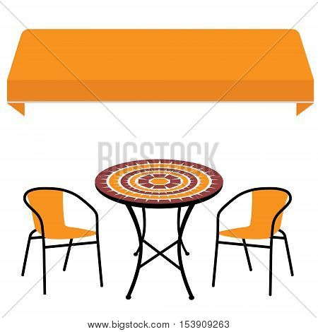 Awning, Table And Chair