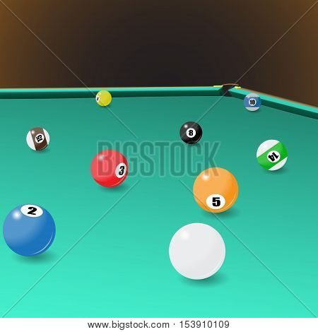 Billiard game balls position on a pool table. Vector illustration of a billiard table with a corner pocket and balls