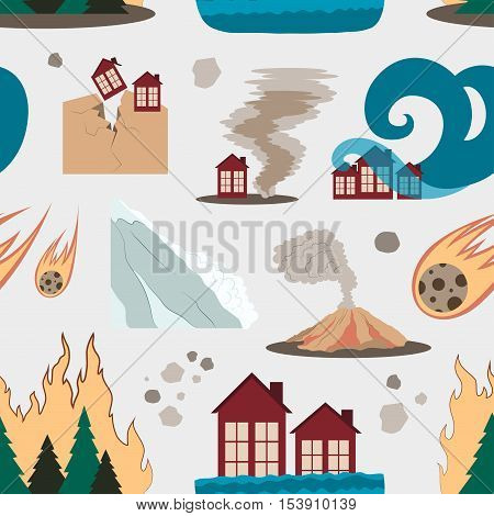 Natural disaster icon set pattern with tsunami snow storm thunder isolated vector illustration