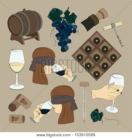 Tasting wine icons. Wine and sommelier icons. Vector illustration