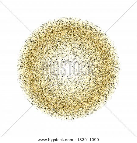 Gold glitter texture isolated on white. Golden color of winners. Gilded abstract particles. Explosion of confetti shine. Celebratory background. Vector illustrationeps 10.