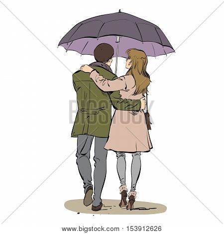 Back a couple man and woman walking under an umbrella, color illustration isolated vector. Love and romance. Autumn seasons