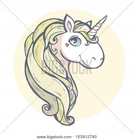 Cartoon magic unicorn. Cartoon magic unicorn. Vector illustration isolated on white background.