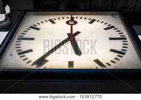 Dramatic Vignette Clock Dirty Grungy Vintage Closeup Below Perspective Hands Blank