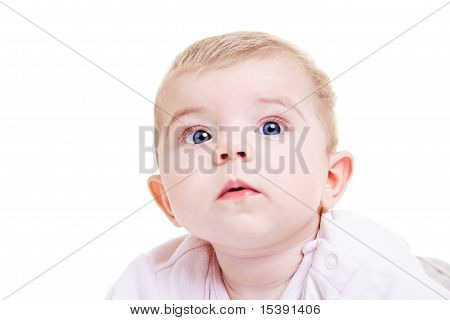 Cute Baby Girl Watching With Big Eyes