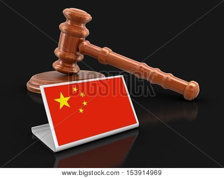3D Illustration. 3d wooden mallet and Chinese flag. Image with clipping path